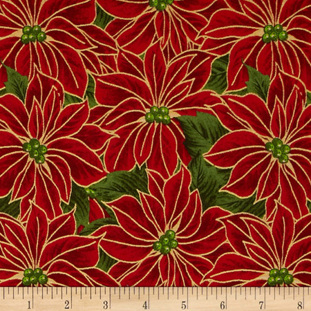 Poinsettia Glitz Metallic Packed Poinsettias Red Fabric