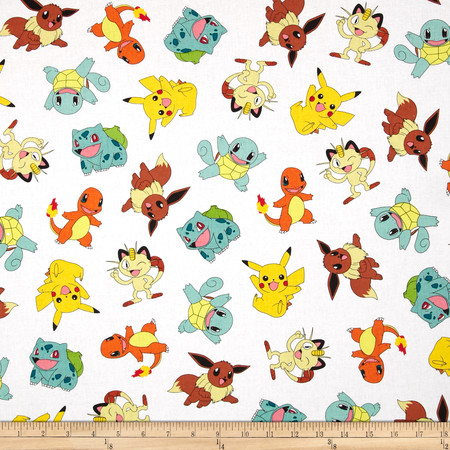 Poke'mon Tossed White Fabric