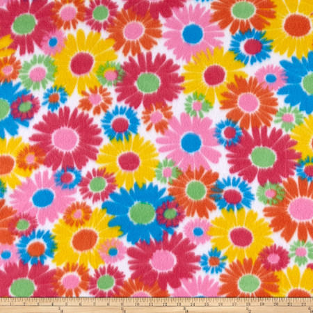 Polar Fleece Print Anouk Flower Power Blue Fabric By The Yard