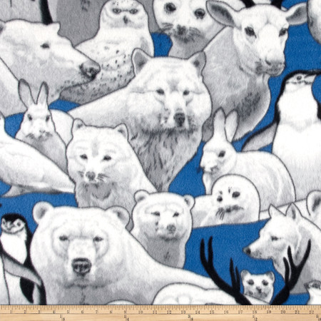 Polar Fleece Print Arctic Friends Blue Fabric