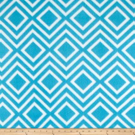 Polar Fleece Print Diamond Tile Turquoise Fabric By The Yard