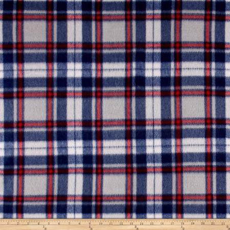 Polar Fleece Print Herringbone Plaid Navy Grey Fabric By The Yard