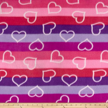 Polar Fleece Print Ombre Hearts Azalea Fabric By The Yard