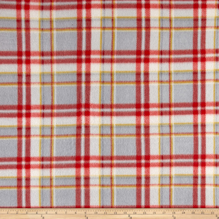 Polar Fleece Print Parson Plaid Black Red Grey Fabric By The Yard