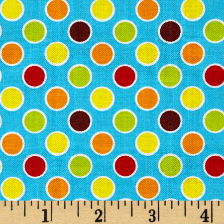 Polka Dot Pond Bubbles Turquoise Fabric By The Yard
