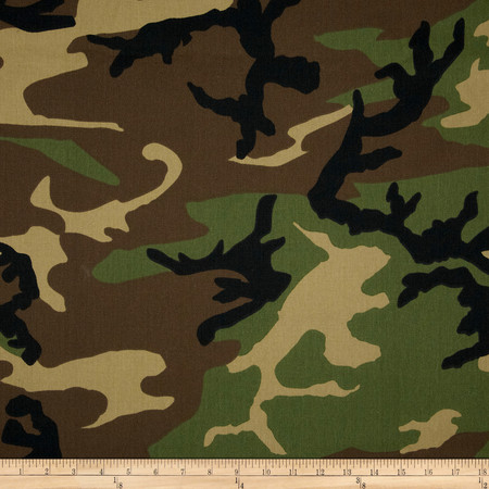 Poly/Cotton Twill Woodland Camouflage Brown/Green/Black Fabric By The Yard