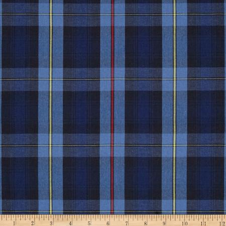 Poly/Cotton Uniform Plaid Black/Blue/Yellow Fabric By The Yard