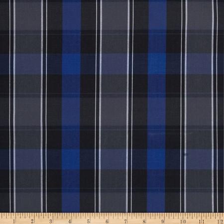 Poly/Cotton Uniform Plaid Blue/Black/White/Grey Fabric