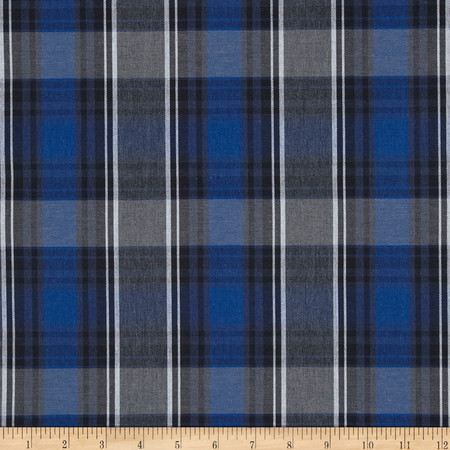 Poly/Cotton Uniform Plaid Blue/Black/White Fabric By The Yard