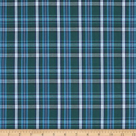 Poly/Cotton Uniform Plaid Green/Blue/White Fabric