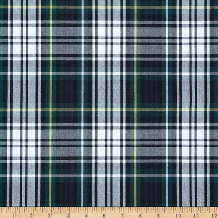 Poly/Cotton Uniform Plaid Navy/Green/Yellow Fabric