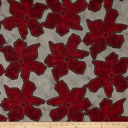 Poly Challis Abstract Floral Print Red/Black/Ecru Fabric