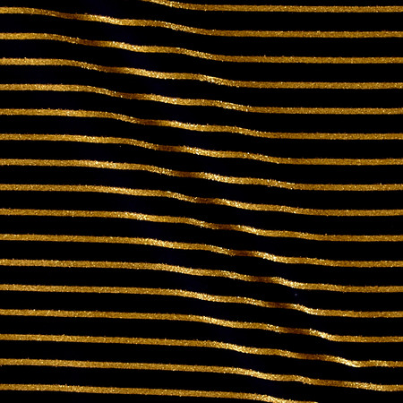 Poly Cotton Spandex Stripe Navy/Gold Fabric