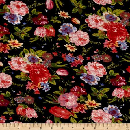 Poly Jersey Slub Knit Floral Fabric