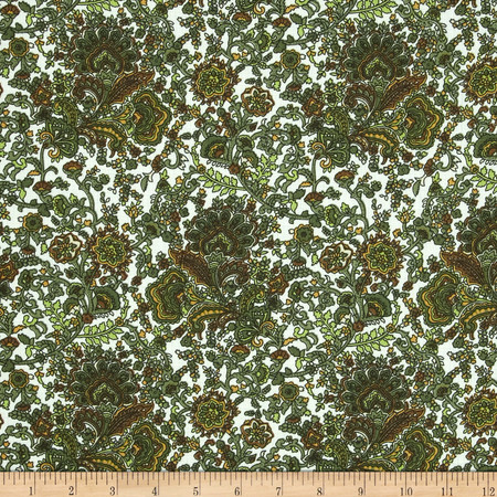 Poly Linen Look Shirting Floral Green/Brown/Beige Fabric