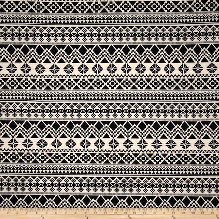 Poly Rayon Ponte Roma Knit Aztec Black/Cream Fabric
