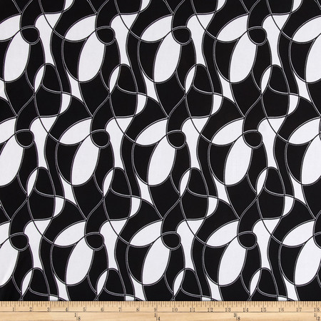 Poly Spandex ITY Jersey Knit Twisted Lines Black/White Fabric