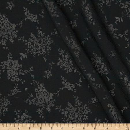 Polyester Embossed Shirting Black Fabric