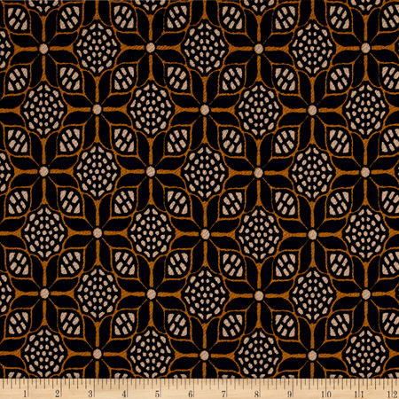 Polyester Floral Double Knit Royal/Gold Fabric By The Yard