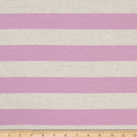Polyester Jersey Knit Stripe Orchid Oatmeal Fabric By The Yard