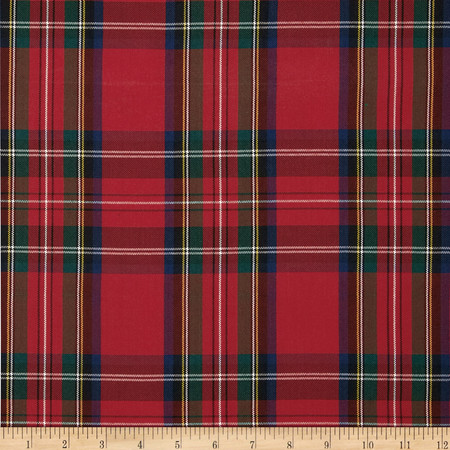Polyester Uniform Plaid Red/Green/Blue Fabric By The Yard