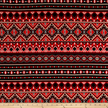 Ponte De Roma Aztec Print Red/Black Fabric
