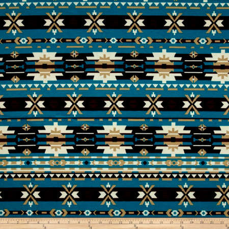 Ponte de Roma Aztec Teal Fabric By The Yard