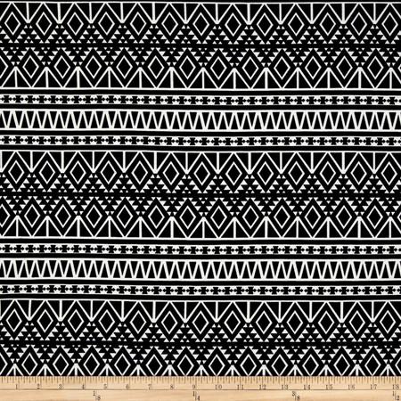 Ponte de Roma Knit Geo Diamonds Black Fabric