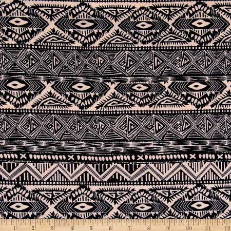 Ponte de Roma Geometric Tribal Stripe Black/Ivory Fabric By The Yard