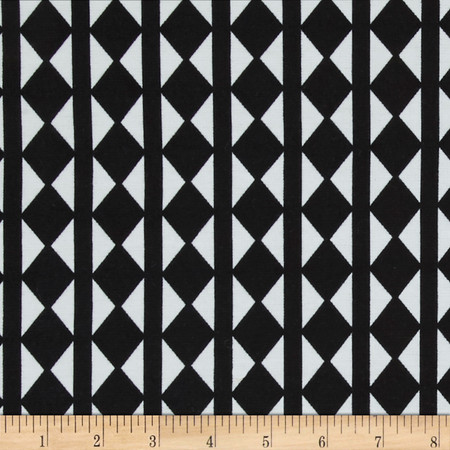 Ponte de Roma Verticle Checkerboard Black/White Fabric By The Yard