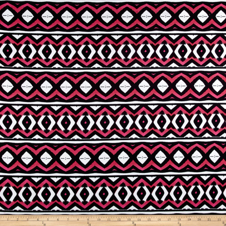 Ponte de  Roma Bold Aztec Black/White/Red Fabric By The Yard