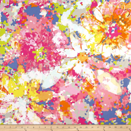 Poplin Print Mosaic Daisy Pink Fabric By The Yard