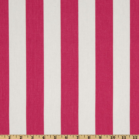 Premier Prints Canopy Stripe Candy Pink/White Fabric By The Yard