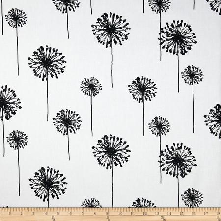Premier Prints Dandelion White/Black Fabric By The Yard