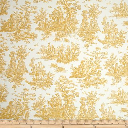 Premier Prints Jamestown Toile Goldenrod Fabric