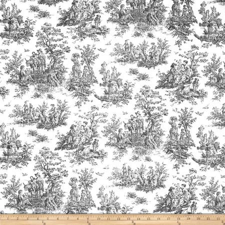 Premier Prints Jamestown Toile Black Fabric By The Yard