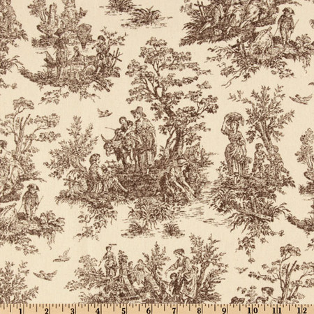 Premier Prints Jamestown Toile Brown/Natural Fabric By The Yard