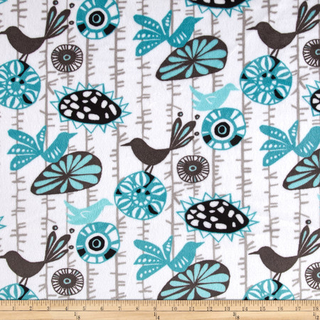 Premier Prints Mockingbird Minky Cuddle Menagerie Teal Fabric By The Yard