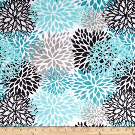 Premier Prints Mockingbird Minky Cuddle Blooms Teal Fabric By The Yard