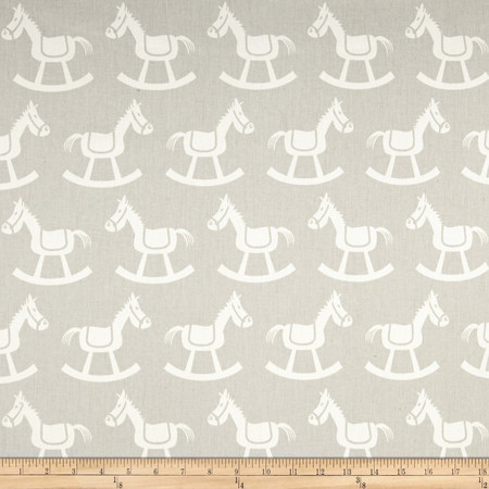 Premier Prints Rocking Horse Twill French Grey/White Fabric By The Yard