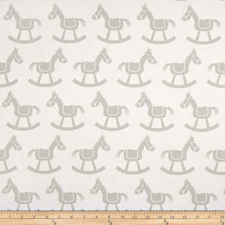 Premier Prints Rocking Horse Twill White/French Grey Fabric By The Yard
