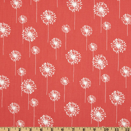 Premier Prints Small Dandelion Coral/White Fabric By The Yard