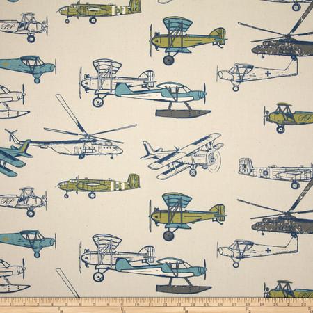 Premier Prints Vintage Air Felix/Natural Fabric By The Yard