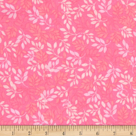 Pretty Bouquet Falling Leaves Pink Fabric By The Yard