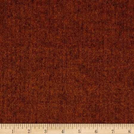 Primo Flannel Harvest Herringbone Orange Fabric By The Yard