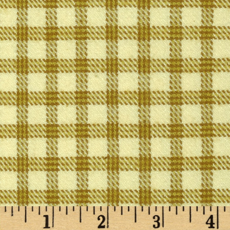Primo Plaids Flannel Check Beige Fabric By The Yard