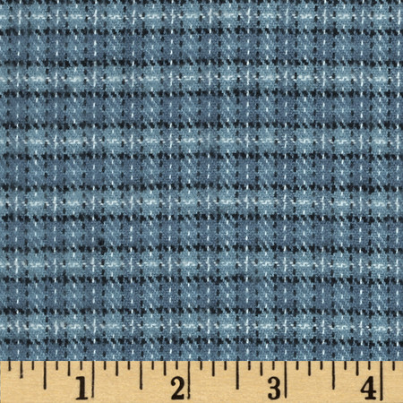 Primo Plaids Flannel Small Plaid Blue Fabric By The Yard