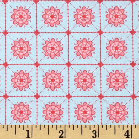 Primrose Sands Floral Grid Blue Fabric By The Yard