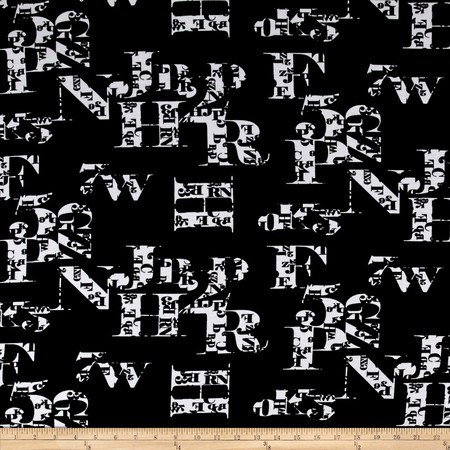 Printed Knit Black Letters Fabric