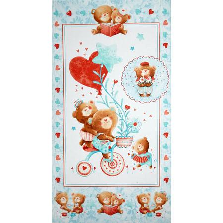 Puffy Teddy 24 In. Panel Blue Fabric